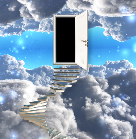 leads: Stairway leads to door in sky