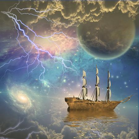 sailing: Sailing ship with full sails in fantastic scene
