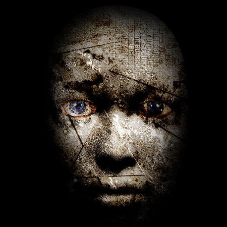 the human face: scary human face Stock Photo