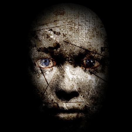 visage humain effrayant Banque d'images