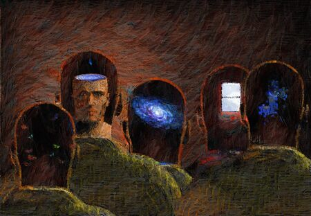 Thoughts in mens heads, oil canvas