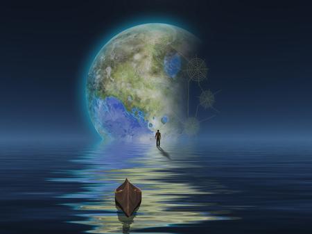 Uomo con barca sulla superficie dell'acqua contro il pianeta