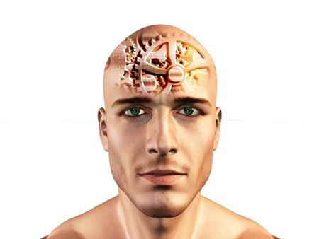 Gears getoond in mans hoofd Stockfoto