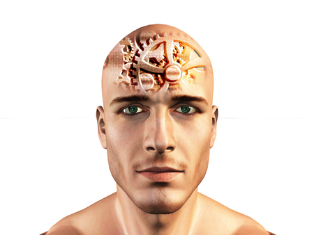 male symbol: Gears shown in mans head Stock Photo