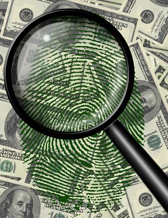 theft proof: Magnify glass and fingerprint on US currency