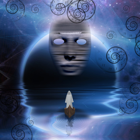 white robe: Man in white robe floating in abstract space
