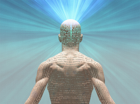Man radiates light from text on his skin   The text is from HG Wells The Time Machine and has been iin the public domain for many decades, no relaese needed