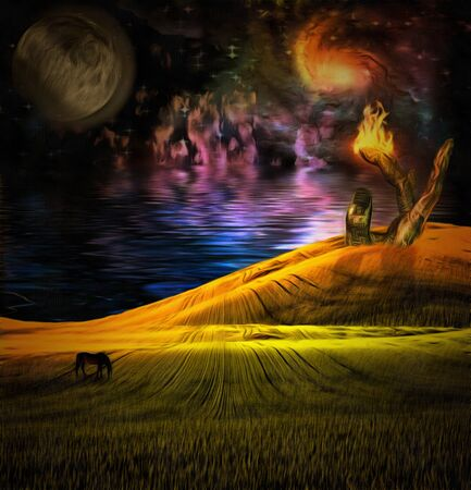 cogidos de la mano: Paisaje surrealista con la escultura en llamas