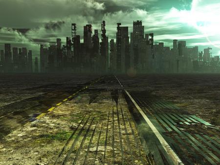 Verweerde weg leidt naar verlaten stad