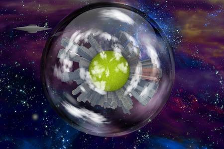 interstellar: Saucer craft near large interstellar city ship Stock Photo