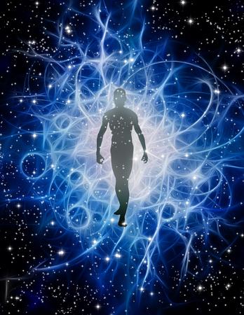 Human Figure Emerges from Light Standard-Bild
