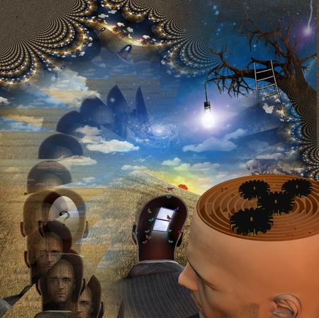 reveals: Mans head reveals maze in strange scene