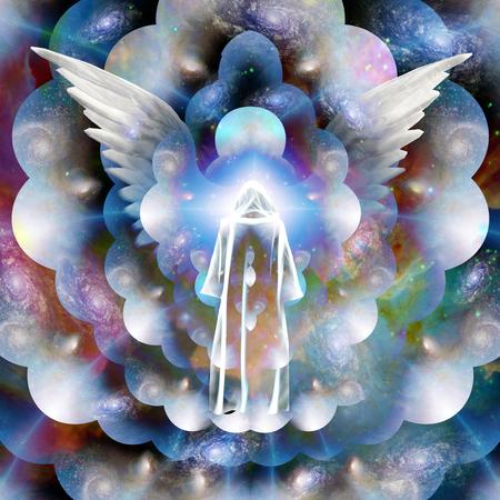 ange gardien: silhouette spirituelle dans l'espace