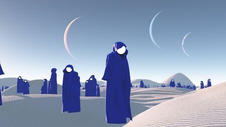 robes: figures in blue robes in the desert Stock Photo