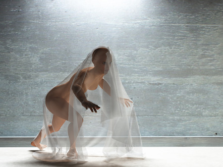 naked women: Young woman under transparent cloth