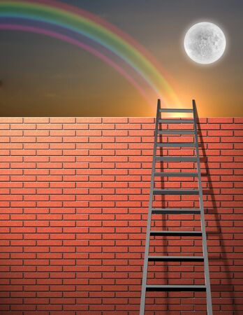 overcome: Ladder leans on wall with sky Stock Photo