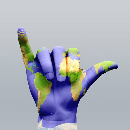 Hang Loose Earth Hand Stock Photo
