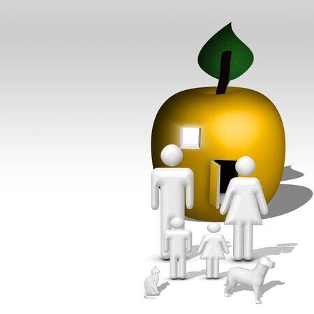 Illustriert Apple home für Familie  Standard-Bild - 61259357