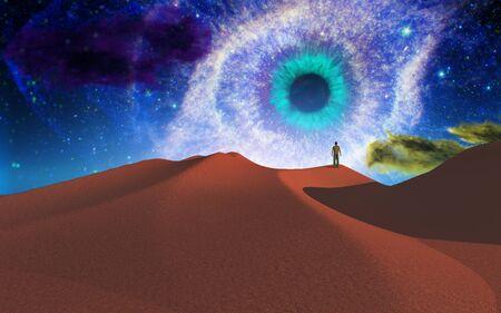 deserts: Lonely man in desert Stock Photo