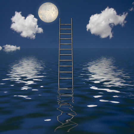 heights job: Ladder Rises out of Body of Water Stock Photo