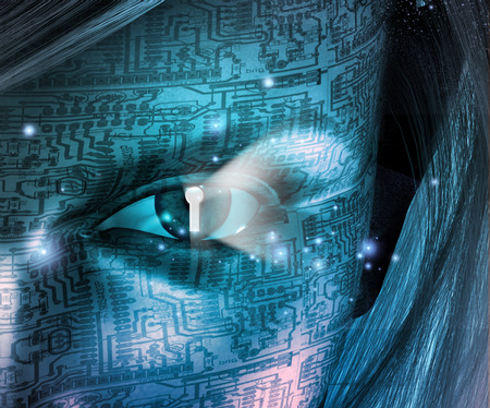 Electronic Woman with Key hole Eye Stock Photo