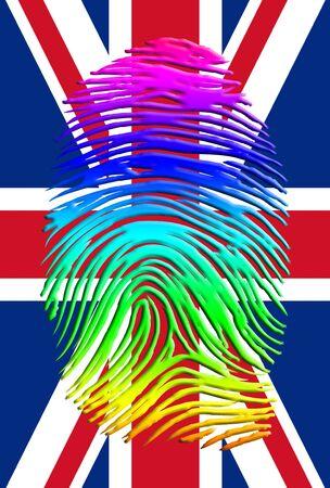 L'empreinte digitale Rainbow Pride UK Banque d'images - 61259371