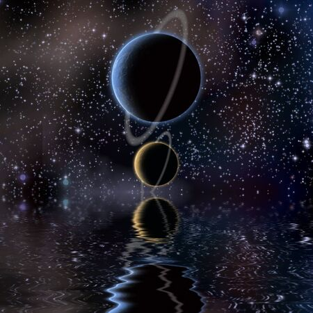 reflection: Waters reflection and Planets Stock Photo