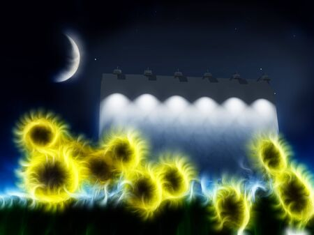 Night roadside billboard with abstracted sunflowers