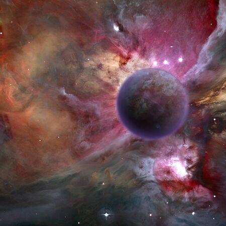 mysterious: Mysterious planet, purple nebula