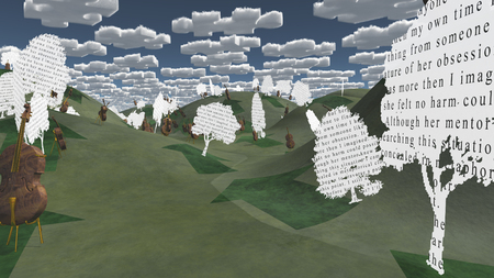 Question clouds over surrreal landscape with paper trees Banque d'images