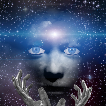 the human face: human face with hands and space light Stock Photo