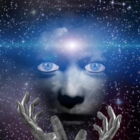 soñando: rostro humano con las manos y la luz del espacio