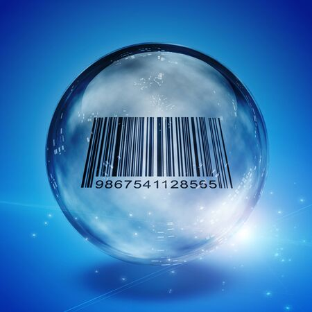 enclosed: Barcode enclosed in glass sphere Stock Photo