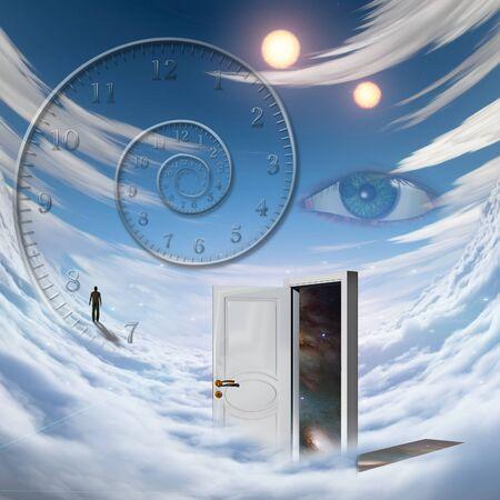 suspense: White door, spiral of time, man walking on a cloud