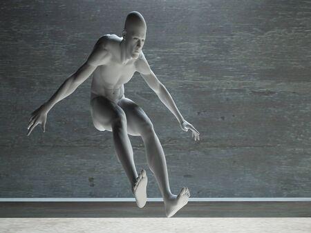 artisitc: Athletic Male Figure in White Stock Photo