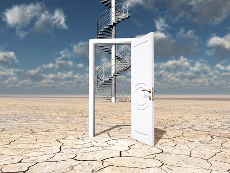 open doors: Single door in desert with dicular stairway strangely beyond
