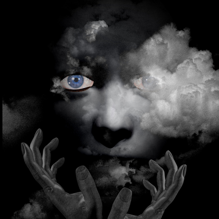 the human face: scary human face with hands and clouds
