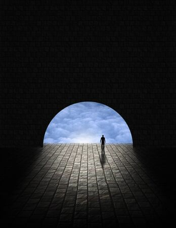 light at the end of the tunnel: Mystery Man in Tunnel Stock Photo