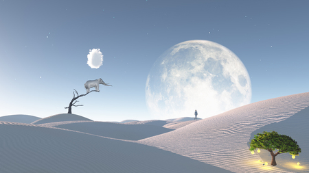 surreal landscape: Elephant stands on thin branch of withered tree in surreal landscape with idea tree Stock Photo
