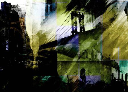 cuadros abstractos: Puente de Manhattan. pintura dramática en colores oscuros.