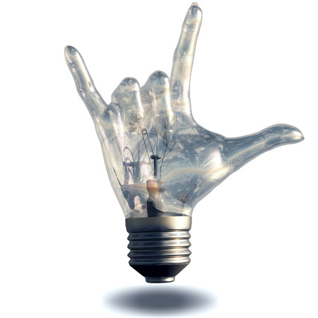 rock n roll: Rock n roll horns gesture lightbulb