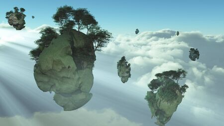 floating: Islands float above the clouds Stock Photo