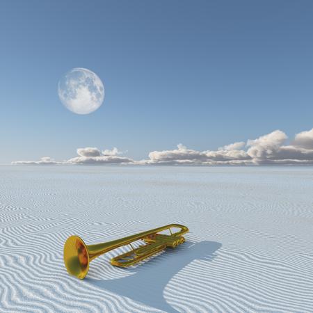 meaning: Shiny horn in desert Stock Photo