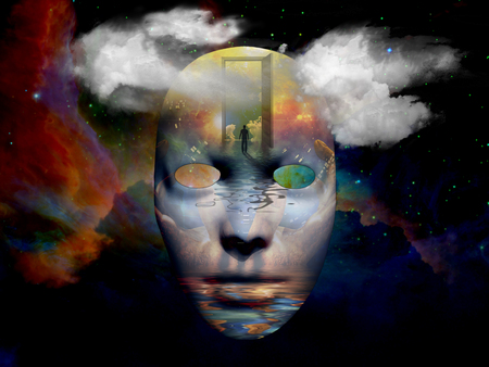 unreal unknown: Mask with surreal painting in the space
