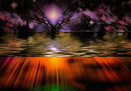 sunset tree: Purple sunset, tree in the water