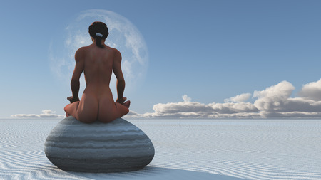 Woman meditates sitting on stone in white sands landscape