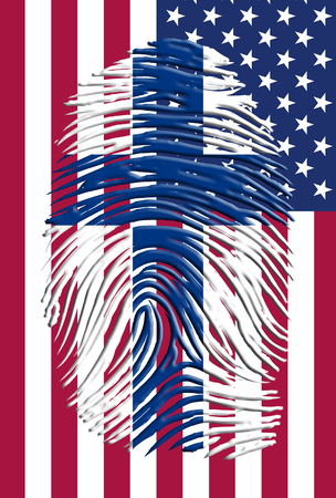 Finlad USA Flag and finger print Stock Photo