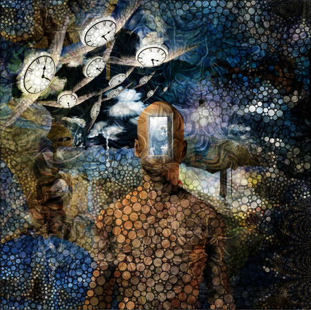 Surreal painting. Opened door to another world. Salvador Dali style.