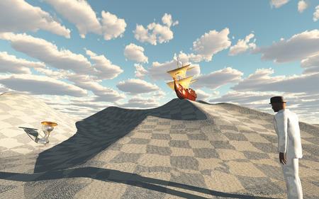 Ship crests on dune in checkerboard desert scene Stock Photo