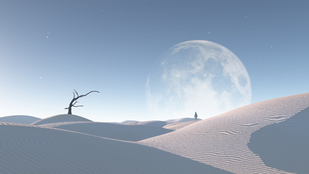 Lonely man in surreal desert